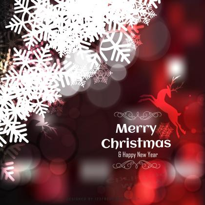 Merry Christmas Red Black Background with Snowflakes and Reindeer