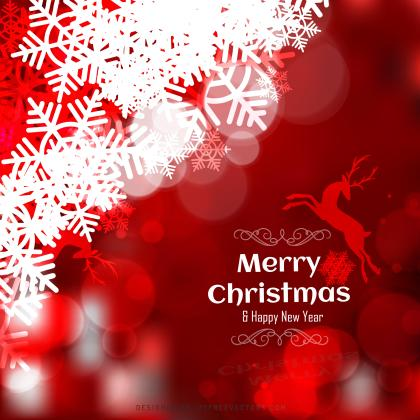 Red Christmas Background with Snowflakes and Reindeer