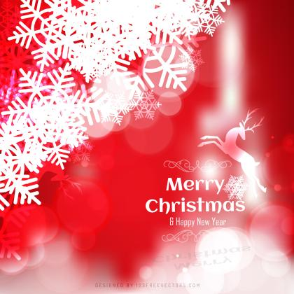 Merry Christmas Red Background with Snowflakes and Reindeer
