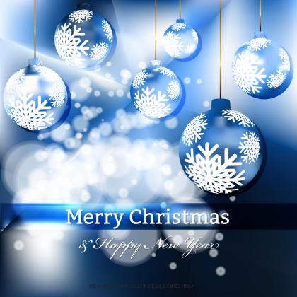 Dark Blue Christmas Balls Background Design