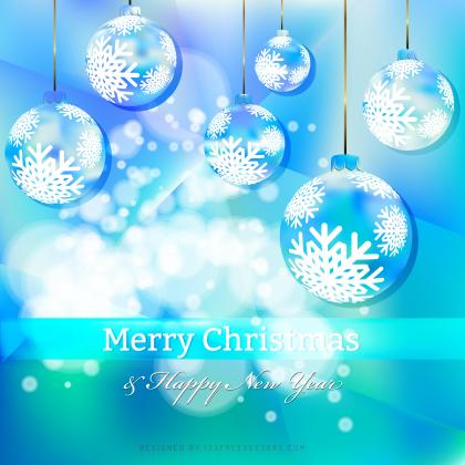 Turquoise Blue Christmas Balls Background Template