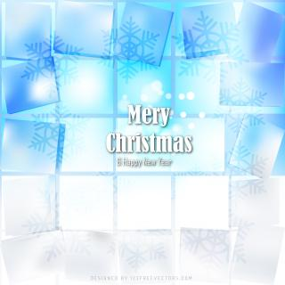 Merry Christmas and Happy New Year Light Blue Background