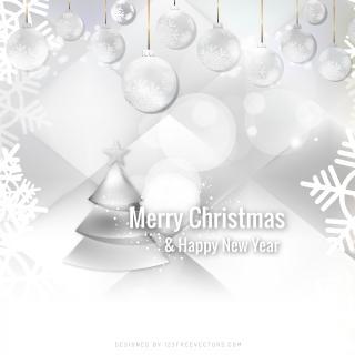 White Christmas Balls Background Image