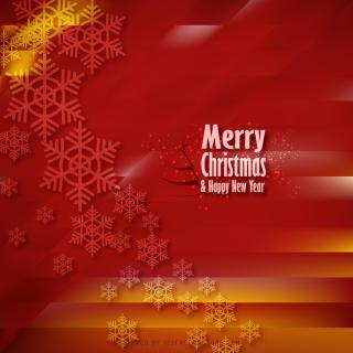 Merry Christmas Snowflakes Red Background Image