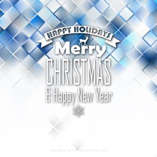 Merry Christmas and Happy New Year Blue White Background Graphics