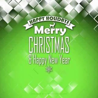 Merry Christmas and Happy New Year Green Background Template