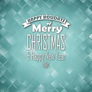 Merry Christmas and Happy New Year Turquoise Background Design