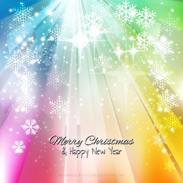 merry christmas and happy new year colorful background