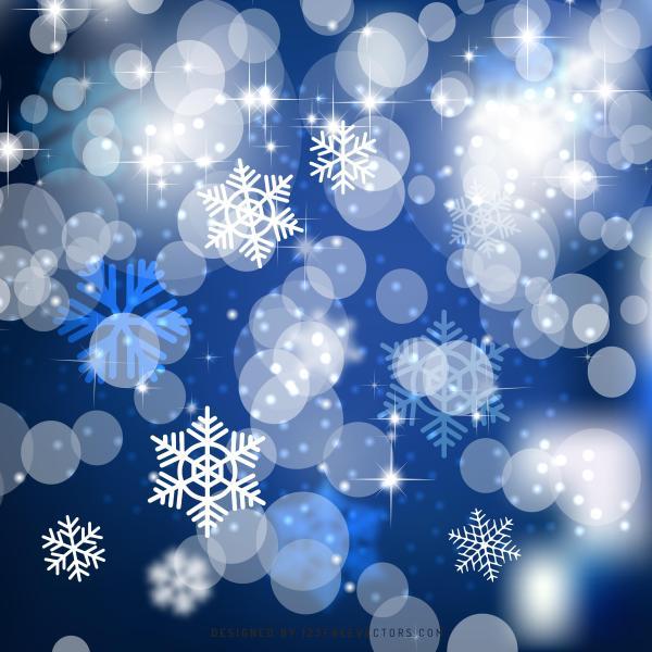 Blue Christmas Bokeh Lights Background Template