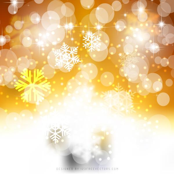 White Orange Bokeh Christmas Lights Background Template