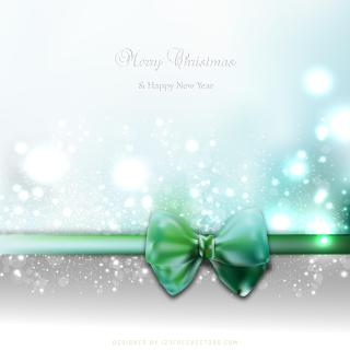 Blue Green Holiday Christmas and New Year Card Background with Bow