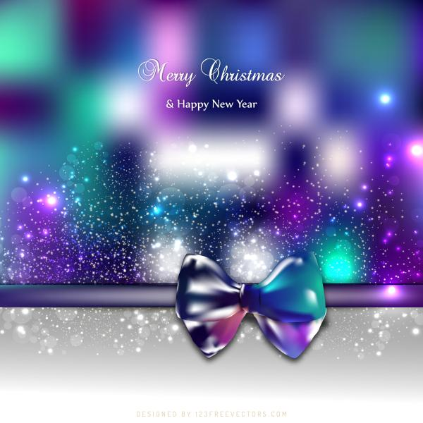blue purple holiday christmas and new year card background with bow