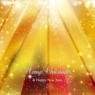 Merry Christmas and Happy New Year Red Yellow Background