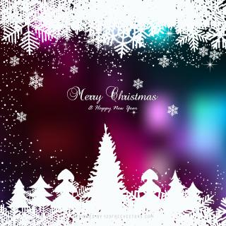Colorful Christmas Winter Snow Background with Trees