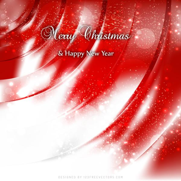 Merry Christmas And Happy New Year Red White Background