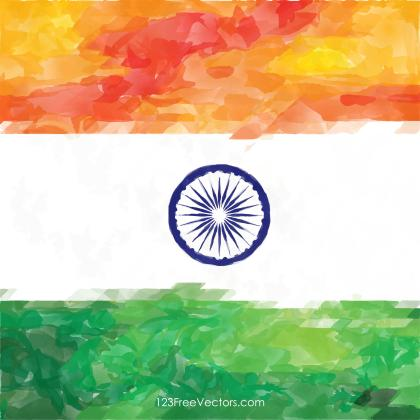Watercolor Indian Flag Background Image