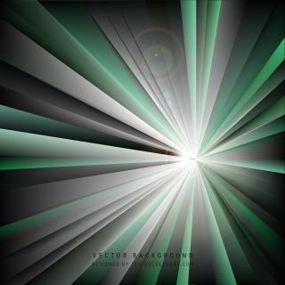 Abstract Black Green Light Rays Background Design