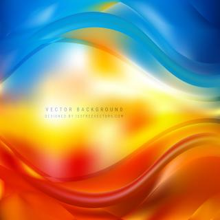 Blue Red Yellow Wave Design Background