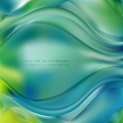 Abstract Blue Green Wave Design Background