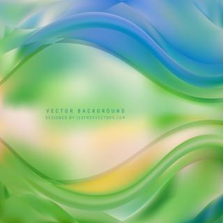 Abstract Blue Green Wave Background Template