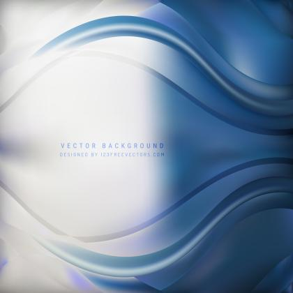 Abstract Blue White Wave Background Template