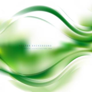 Abstract White Green Wavy Background