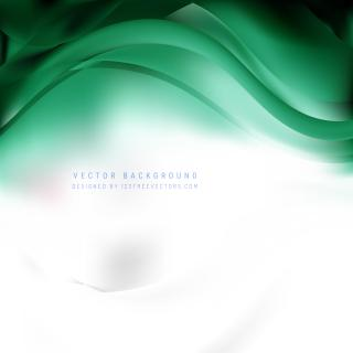 Abstract White Green Wave Background Template