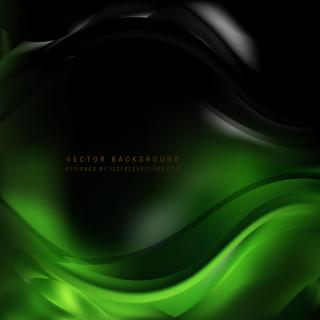 Abstract Black Green Wavy Background