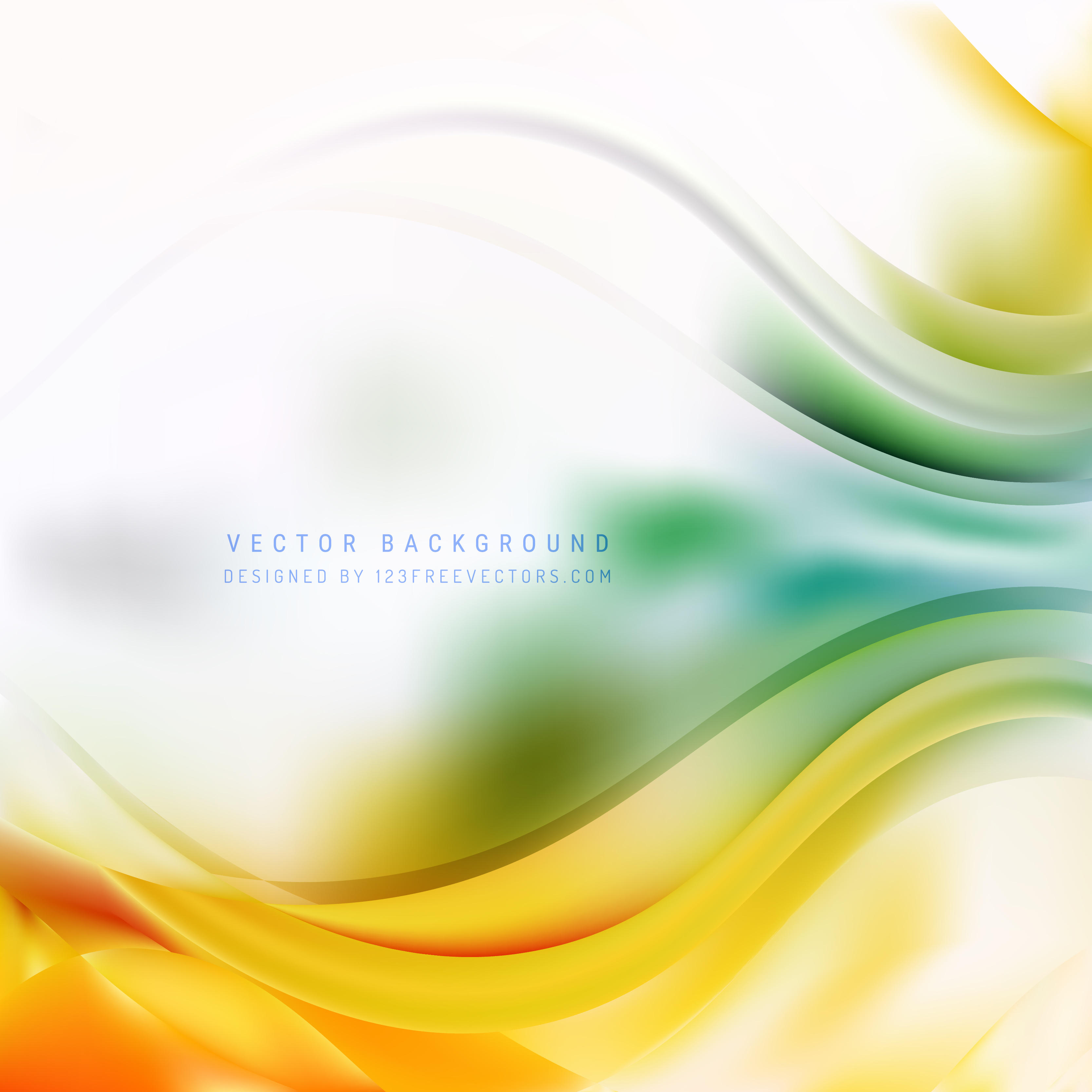 Abstract Orange Green Wave Background