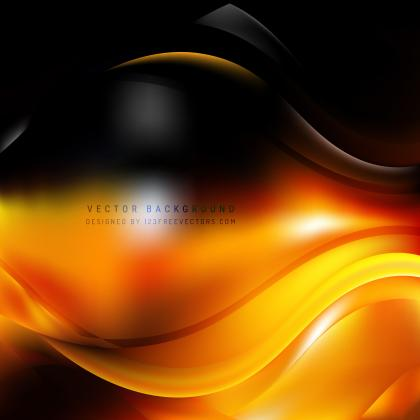 Abstract Black Orange Fire Wave Background