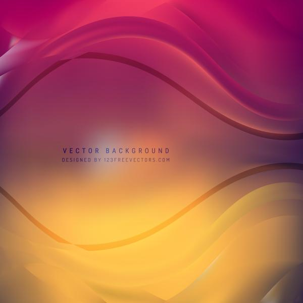 Abstract Yellow Pink Wave Background Template