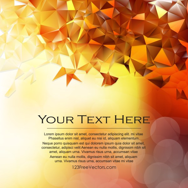 Free Abstract Orange Geometric Polygon Background Vector Art