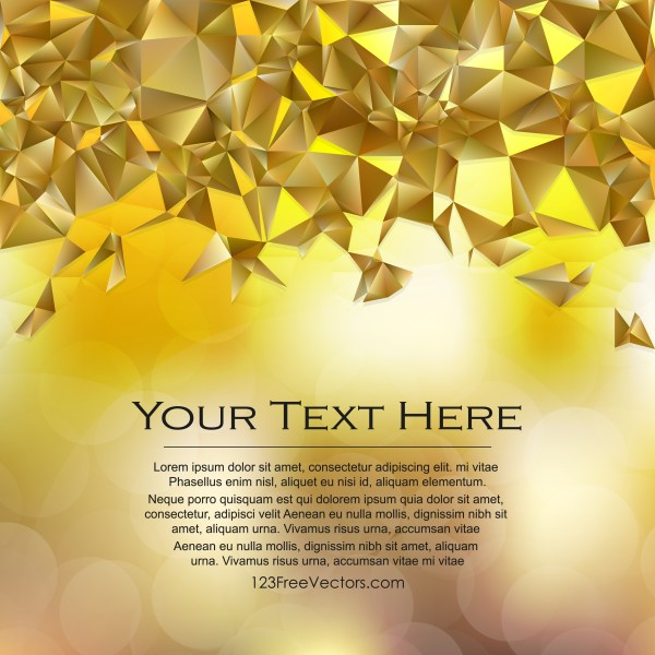 Free Gold Polygon Triangle Background Vector Illustration