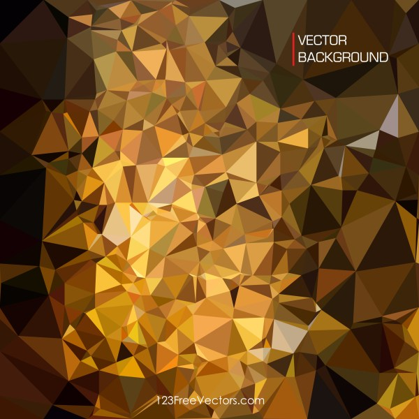 Free Abstract Cool Gold Low Poly Background Template Vector Illustration