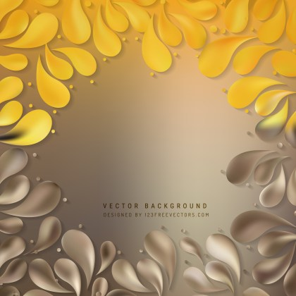 Free Orange and Brown Decorative Floral Drops Background Image