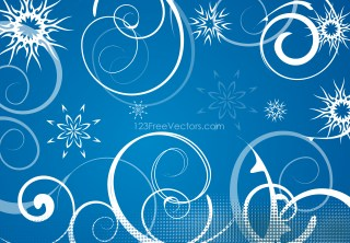 Blue Winter Swirls Snowflakes Background