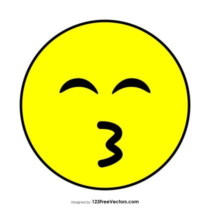 Flat Kissing Face with Smiling Eyes Emoji