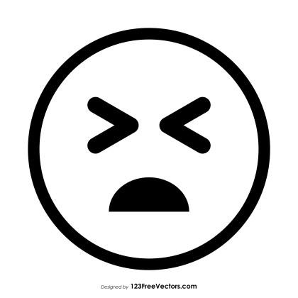 Persevering Face Emoji Outline