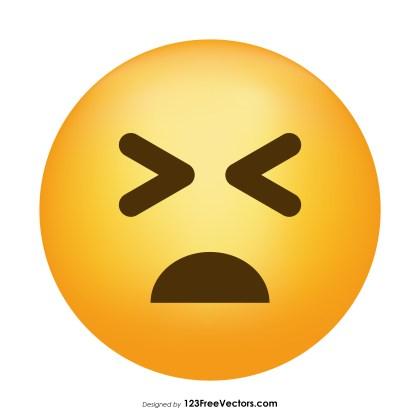 Persevering Face Emoji Icons Vector