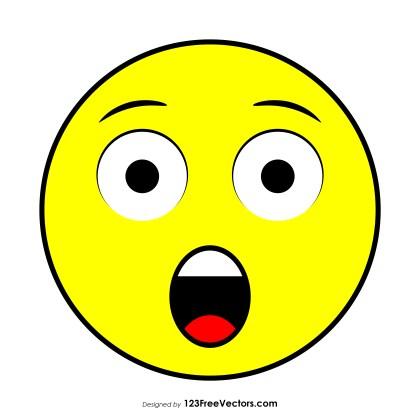 Flat Astonished Face Emoji