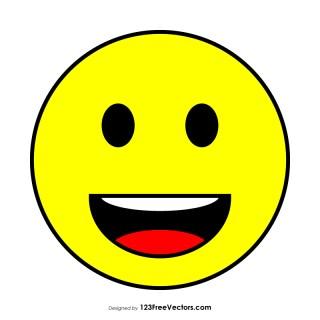 Flat Grinning Face Emoji