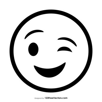 Winking Face Emoji Outline