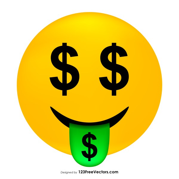 Money-Mouth Face Emoji Icons Vector