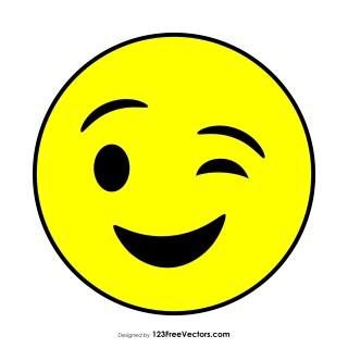 Flat Winking Face Emoji