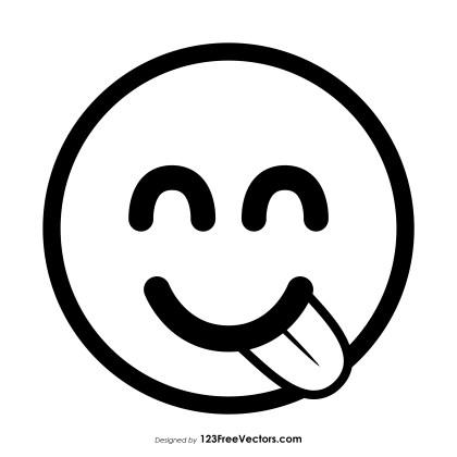 Face Savoring Food Emoji Outline Vector Download