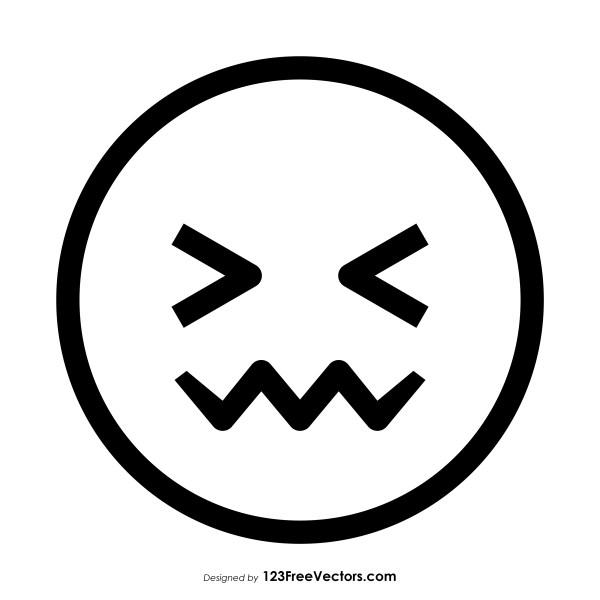 Confounded Face Emoji Outline