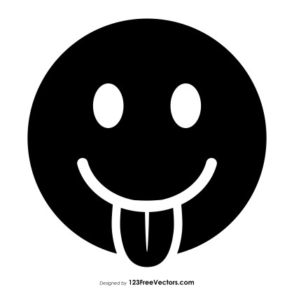 Black Face with Tongue Emoji