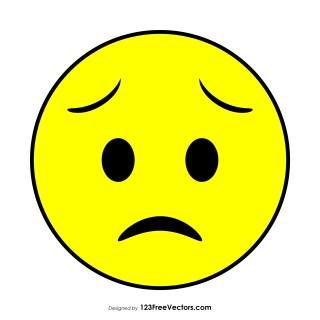 Flat Worried Face Emoji