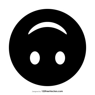 Black Upside-Down Face Emoji