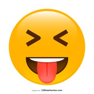 Face with Stuck-Out Tongue and Tightly-Closed Eyes Emoji Vector